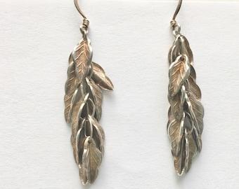 vintage long sterling leaf earrings