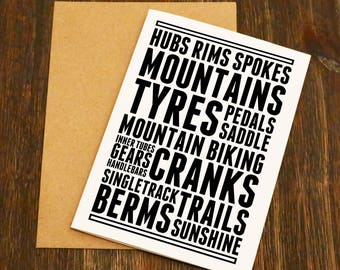 Mountain Bike Thoughts Blank Greeting Card - Bike Gift - Cycling Birthday Card - Cyclist - Blank - Bike Birthday - Cycling Gift - MTB
