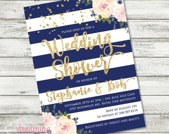 Blush and Navy Floral Striped Wedding Shower Invite with Gold Confetti and Glitter