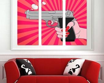 Lady Handgun Cartoon Triptych Metal Wall Art Pop Art