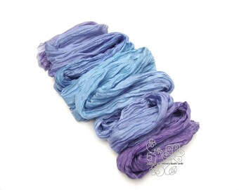 Blue Indigo ombre hand dyed silk scarf crinkle scarf Bohemian clothing