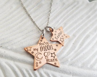 You're my moon and stars, mother's necklace, custom baby name necklace, hand stamped personalized jewelry for mom, gift for her,grandma gift