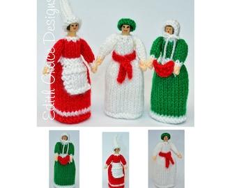 Peg Doll Toy Knitting Pattern, St. Lucia Doll, Christmas Elf Doll, Carol Singer Doll, Knit Doll, Doll Knitting Pattern, Scandinavian Dolls