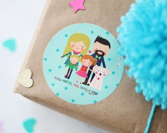 PERSONALIZED Gift Tag Labels, Stickers, Gift, Presents, Favors, Family, Surprise, Business Cards, Illustration, Costume, Colors, Holidays