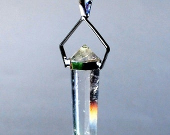 Double Terminated Clear Quartz Pendant Necklace Natural Crystal