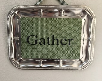 metal tray wall hanging -Gather