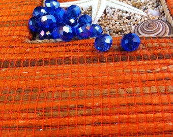 10 beads in faceted Crystal, cobalt blue, beautiful, size 6 X 8 mm