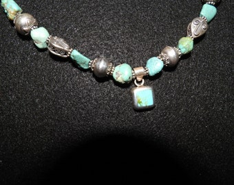 18 in Turquoise, 925 Bali Silver bead necklace