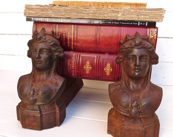 1800 - French Andiron - Antiques Gorgeous Andirons Iron - - french decoration - Fireplace - French Symbol