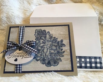 """5 handmade """"Sending Heartfelt thoughts"""" country,distressed, blank greeting cards"""