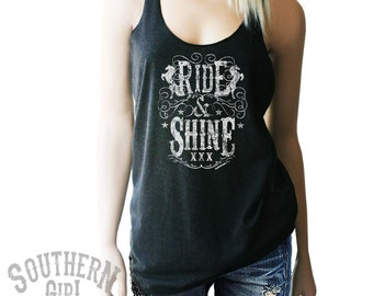 Moonshine. Southern Shirts. Ride and Shine Tank. Moonshine Shirt. Moonshine Tank. Southern. Country Girl. Country Shirt. Country Clothing.