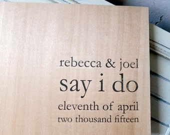 "Wedding Guest book / Album / Notebook (9"" x 6"") - Wood Guestbook - Say I Do - Custom Names and Date"