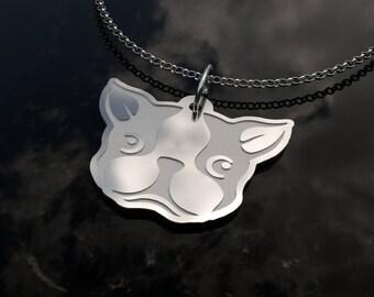 Boston Terrier - .925 Sterling Silver Adorable Boston Terrier Pendant & Chain Necklace Trending Now Best Seller