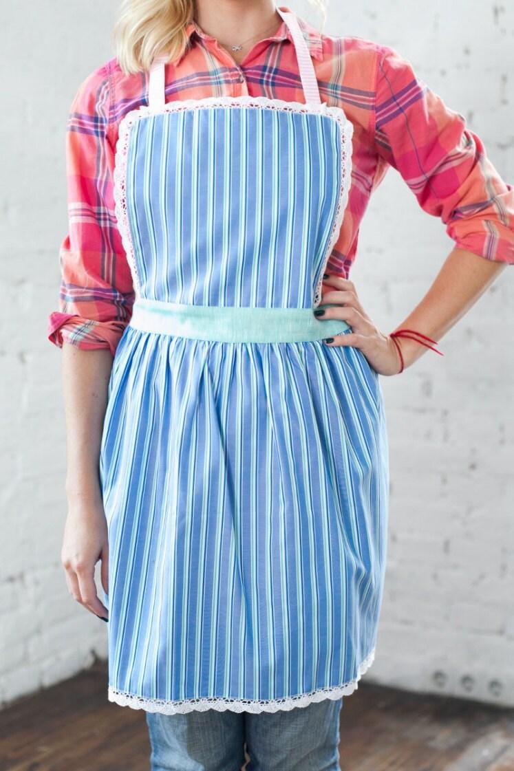 Cute Kitchen Apron Mother Daughter Aprons Stripy Blue Ladies