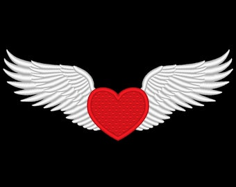 Winged Heart Wings Embroidery Design