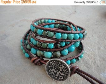 SALE 50% OFF Macavo Turquoise Beaded Natural Leather Wrap Bracelet