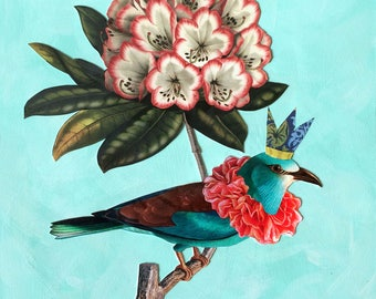 PRINT - Botanical print, bird print, collage print, vintage bird prints, flower print, vintage flower print, rhododendron, royalty, bluebird