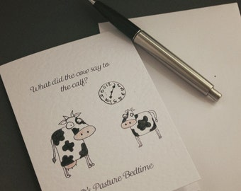 Its Pasture Bed Time Hand-drawn Greeting Cards - Animal | Cow | Jokes | funny | cheesy | sleeping | farming | play-on-words | watercolour