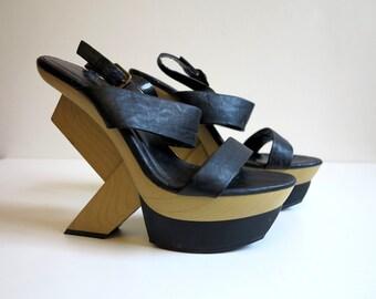 Black Platform Shoes Chunky Art High Heels Strappy Platforms Platform Sandals Ankle Strap Shoes Open Toe Shoes Size EUR 41 UK 7 US 9.5