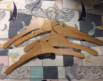 Lot of 5 Vintage Wooden Clothes Hangers