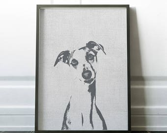 Whippet art print, Dog Print Gift Idea, Modern Dog Art Print, Black White Wall Decor, Whippet poster, Pet portrait, Whippet gift idea