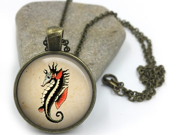 Sailor Jerry Necklace, Nautical Pendant,Rockabilly Necklace, Sailor Jerry,Retro Pendant,Pinup Necklace, tattoo,gift for wife,gift for her 21