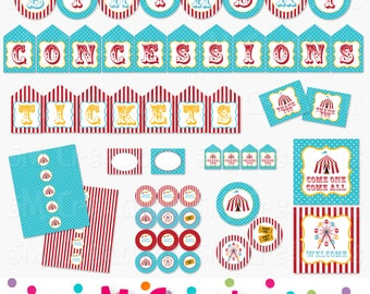 Carnival Birthday Party Printable Package - Circus Party Decorations - Banner Cupcake Toppers Favor Tag Sign- teal red Instant Download