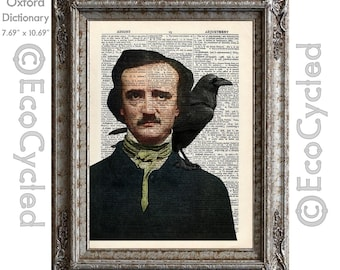 Edgar Allan Poe with Raven Hand Colored on Vintage Upcycled Dictionary Art Print Book Art Print Recycled Horror bookworm gift