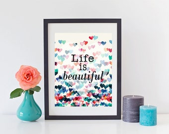 Life is Beautiful digital printable poster classroom nursery kids room teacher school counselor home decor