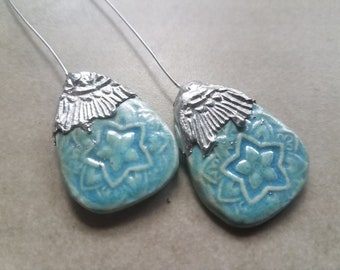 Ceramic Earrings Charms Pair with Decorative Tinwork - You Choose Metal Color - #a27
