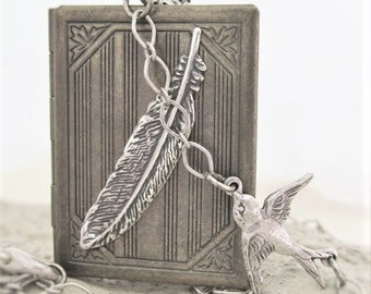 Locket Necklace, Book Locket Necklace, Bird Feather Necklace, Photo Locket Necklace, Book Lovers Gift, Mothers Day Gift, Keepsake Necklace