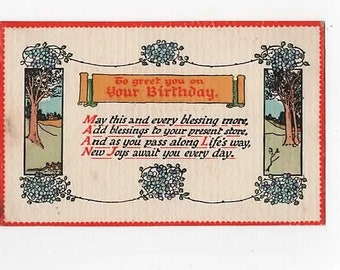 CLIFTON HAPPY THOUGHT, Vintage cWW1 Birthday Postcard, Forget me nots, Trees
