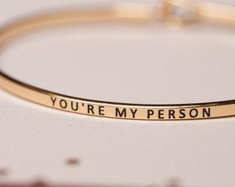 You're My Person, gold silver and rose gold bangles, bridesmaid gifts, you're my person, hakuna matata, sisters, greys anatomy