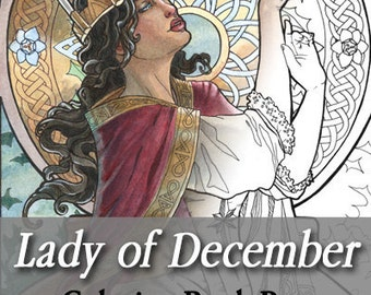 Printable Coloring Book Page for Adults - Lady of December with Narcissus and Holly Birthflowers in Art Nouveau Style Line Art