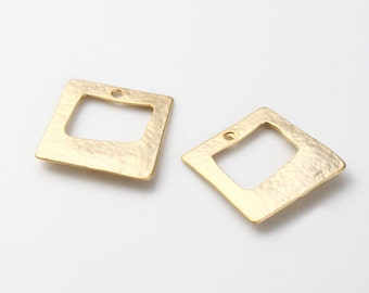 Square Connector, Pendant Matte Gold-Plated - 2 Pieces <GG0006-MG>