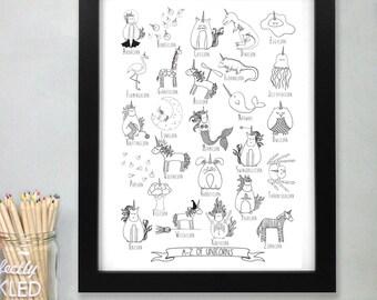 Unicorn Alphabet Print - Unicorn Art - Wall Art - Prints for kids - Gifts for her - Secret Santa - Art Prints