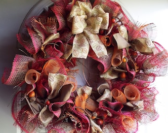 Fall Multi-Colored Mesh Wreath. ON SALE 25% off REG. 65.00 now 48.75