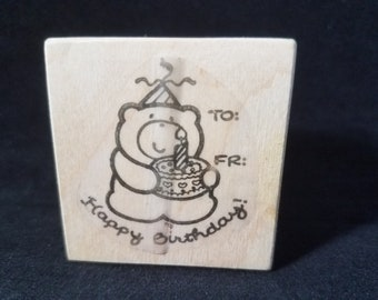 Happy Birthday Bear To From Stamp Rubber stamp Used