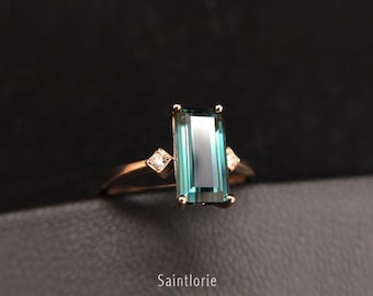 1.7 Carat Blue Tourmaline Engagement Ring