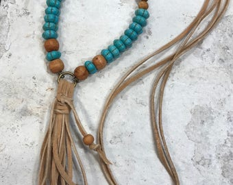 Boho leather & turquoise tassel necklace