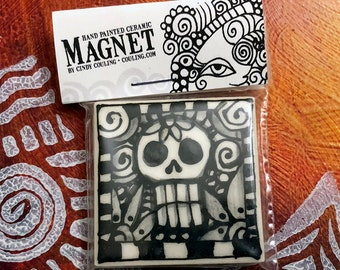 Day of the Dead / Halloween Art - Sugar Skulls Magnet -  Clay / Pottery 2X2 Hand Painted Ceramic Tile by artist, Cindy Couling