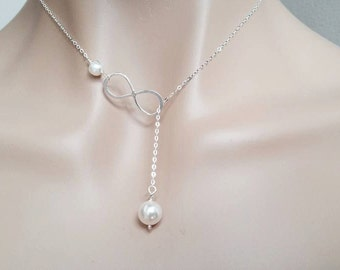 Silver Infinity and Pearl Necklace - Lariat Style,  Bridal Pearl Necklace, Wedding Jewelry, Mothers Gifts, Best Friend Gifts, Holiday Deals