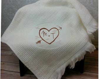 Monogram Throw Blanket, Carved Heart, Embroidered Blanket, Monogram Blanket, Wedding Blanket, Wedding Gift, Anniversary Blanket