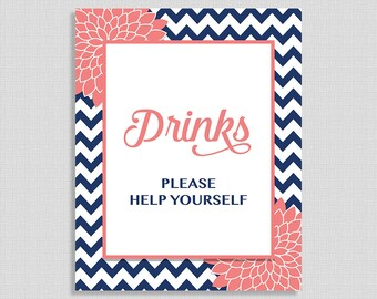 Drinks Sign, Navy and Coral Mums, Bridal, Baby Shower Favor Sign,  Drink Table Sign, INSTANT PRINTABLE
