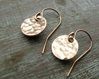 Gold Hammered Tiny Circle Earrings, 14k, Everyday, Gift for Her