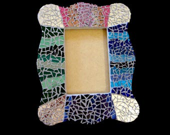 Mosaic Picture Frame for 4 x 6 Photo or Mirror Girl or Teen Room Decor