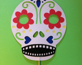 Sugar Skull mask on a stick, Wedding photo props, photo booth props,  Day of the Dead mask