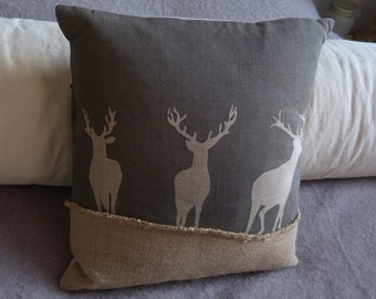 hand printed charcoal triple stag cushion cover