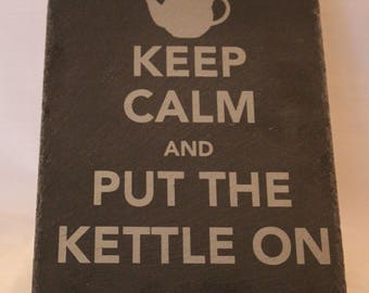 "Natural Slate ""Keep Calm"" Teapot stand"