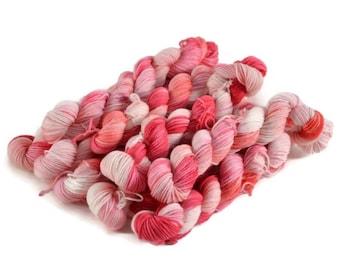 Mini Skeins, Hand Dyed Yarn, Sock Weight, Superwash Merino Wool Yarn, Knitting Yarn, Sock Yarn, Multi-colored, pink, orange - Love Birds